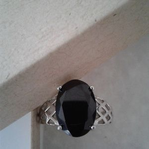Platinum over Sterling Solitair Ring, Size 8